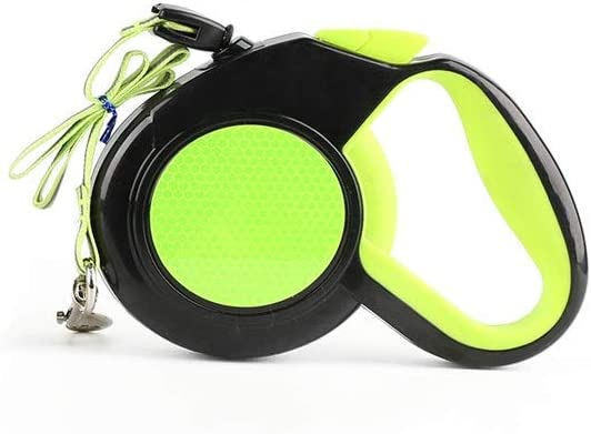 Alapet Cuerda de tracción retráctil automática para perros, correa de tracción reflectante fluorescente, correa de perro nueva de 3 M de cuerda redonda, retráctil libremente, sin cassette, mango de go