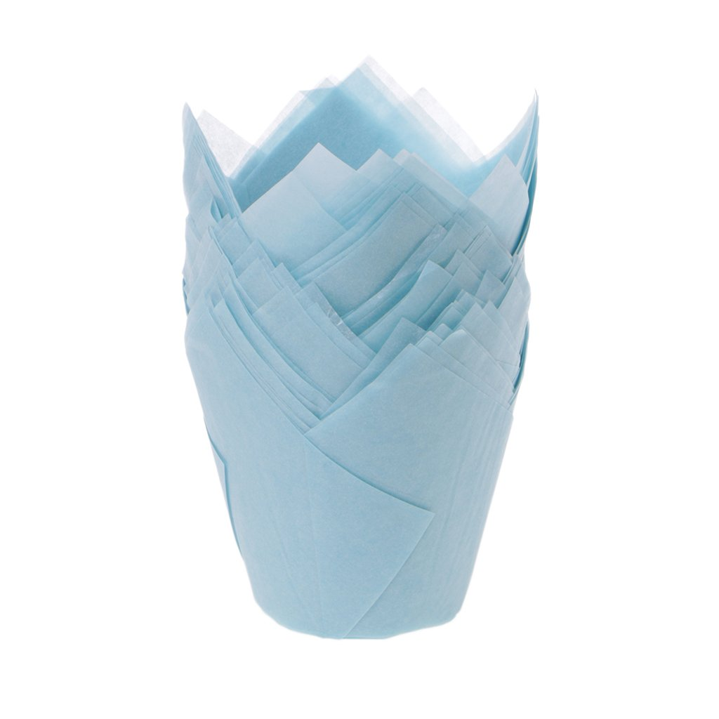 50pcs/lot Solid Wrapper Liners Cup Muffin Tulip Case Cake Paper Baking Cupcake by Tebatu (Image #1)