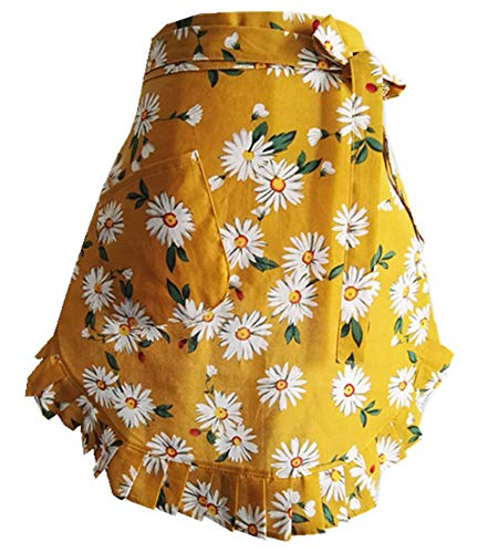 CRB Fashion Waist Apron with Pocket Cotton Commercial Restaurant Waitress Waiter for Girl Woman Half Bistro Aprons (Yellow)]()