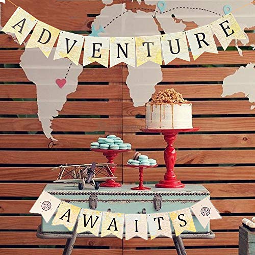 JeVenis Adventure Awaits Banner Bon Voyage Banner Travel Theme Banner World Map Travel Themed Baby Shower Banner Vintage Atlas Map Banner for Bridal Shower Graduation Party Moving Party]()