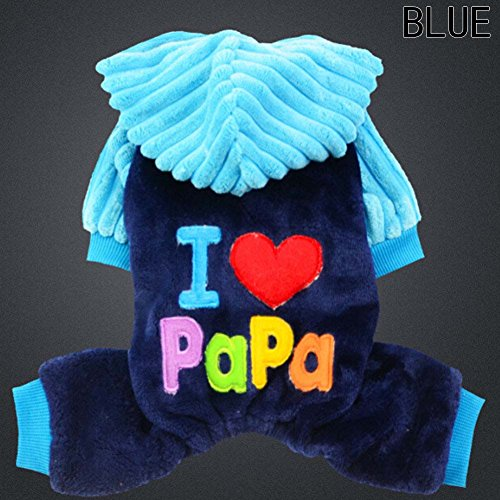 Mama Cat Costume (Elibeauty Pets Costumes, I Love Papa/ I Love Mama Dogs Cats Costumes Halloween Christmas Dogs Cats Super Crazy Clothes for Cosplay Party (Blue M))
