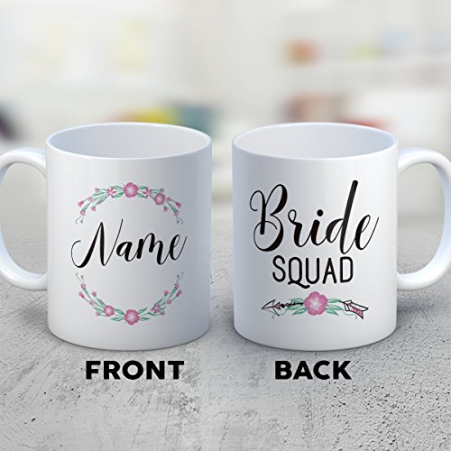 [Bridesmaid Coffee Mug - Bride Squad - Funny 11 oz White Ceramic Tea Cup - Humorous and Cute Bridesmaid Gifts with Bridesmaid] (Mail Order Bride Adult Costumes)