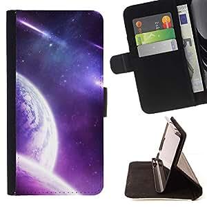 Momo Phone Case / Flip Funda de Cuero Case Cover - Purple Galaxy Planet;;;;;;;; - Sony Xperia Z2 D6502