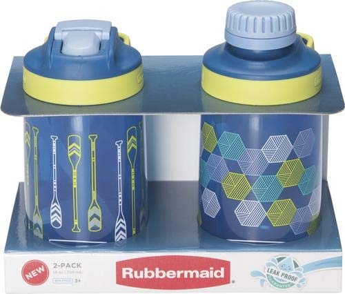 (Rubbermaid 14 oz. Sip and Chug Water Bottle with Oar Design - 2 Pack - Leak Proof Guarantee)