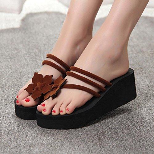 Inkach Womens Flip-Flops Sandals - Fashion Summer Wedge Platform Sandals Chunky Heeled Slippers Coffee t6CX1zSm