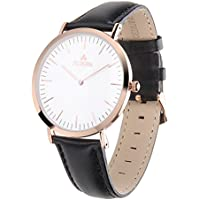 Aurora Women's Classic Steel Quartz Watch With Black Band (Rose Gold)