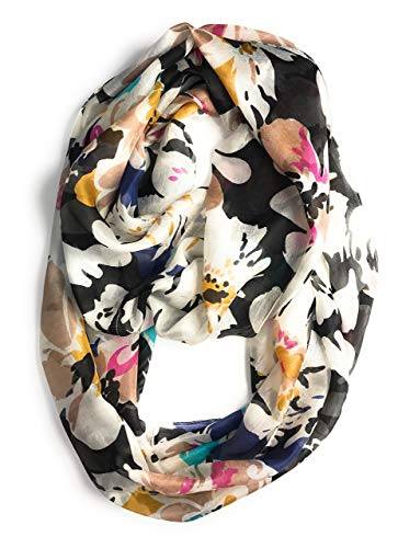 Z&HTrends Womens Genuine Silk Pattern Scarf Infinity (Floral Bliss Black Multi)