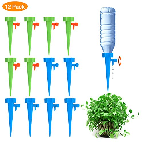 Fostoy Plant Waterer, 12 PCS Automatic Plant Waterer Device Irrigation Drippers with Slow Release Control Valve Switch, Self Plant Watering Spikes System for Outdoor Indoor Flower or Vegetables