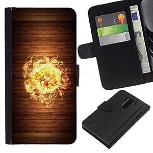 [Neutron-Star] Modelo colorido cuero de la carpeta del tirón del caso cubierta piel Holster Funda protecció Para LG G3 [Cool Wood Fire Flame]