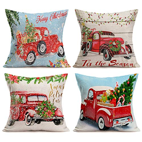 4 Pack Red Truck and Christmas Tree Cotton Linen Throw Pillow Case Home Decorative Cushion Cover Square Pillow Sham for Sofa 18''x18'' Set of 4 (4 Pack Red Truck and Christmas Tree)