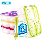 Bento Lunch Box 3 Compartment Food Containers – Set of 4 Storage Meal prep Container Boxes– Ideal for Adults, Toddler, Kids, Girls, and Boys – Free 2-in-1 Fork/Spoon & Puzzle Sandwich Cutter