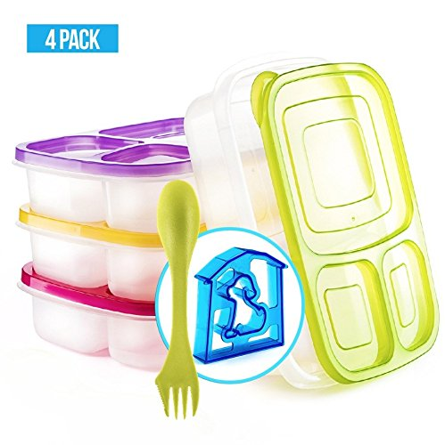 Bento Lunch Box 3 Compartment Food Containers – Set of 4 Storage Meal prep Container Boxes– Ideal for Adults, Toddler, Kids, Girls, and Boys – Free 2-in-1 Fork/Spoon & Puzzle Sandwich Cutter by Perfect Fit