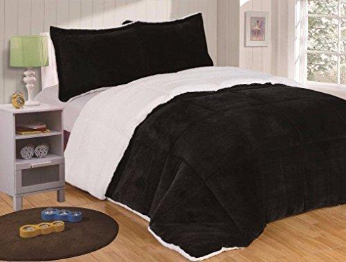 Berber Blanket Fleece (Chezmoi Collection 3-piece Micromink Sherpa Reversible Down Alternative Comforter Set (Queen, Black))