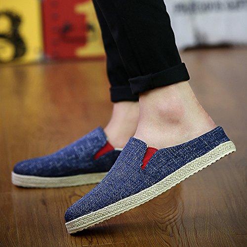 夏リネンと靴メンズCool and semi-slippersインドアレジャーサンダル B07BFZ2KTJ  In the dark blue UK7