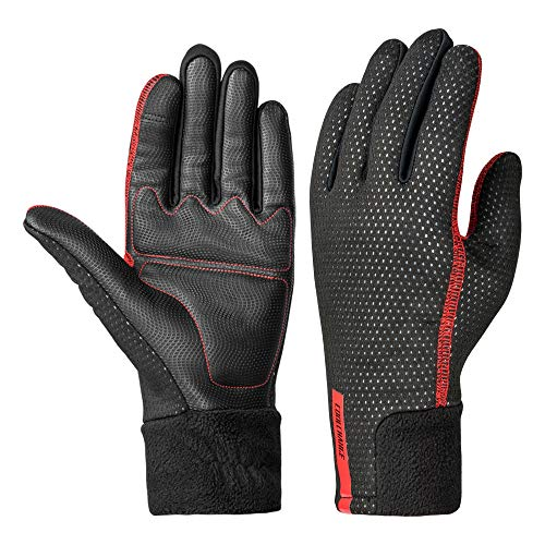 Coolchange Winter Thermal Waterproof Bike Gloves Long Cuff | Touch Screen Cycling Gloves(Red Large)