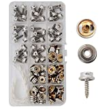 DianMan 120 Pcs Screw Snaps, (Marine Grade, 3/8'' Socket, 5/8'' Screw, 40 Sets) Heavy Duty Metal Screw Snaps Button for Boat Canvas Covers