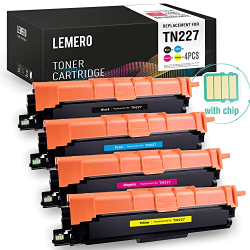 LEMERO (with CHIP) Compatible Toner Cartridges Replacement for Brother TN227 TN223 for HL-L3210CW HL-L3230CDW HL-L3270CDW HL-L3290CDW MFC-L3710CW MFC-L3750CDW ()