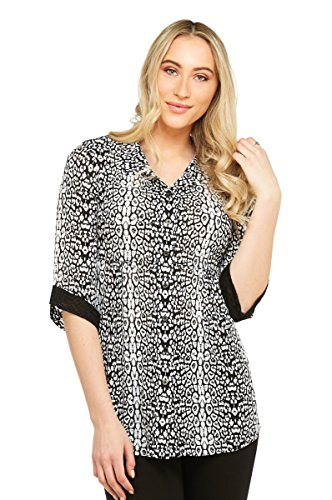 NYGARD SLIMS Leopard Lace Detail Tunic BlkWhtLeopard M (Lace Detail Tunic)