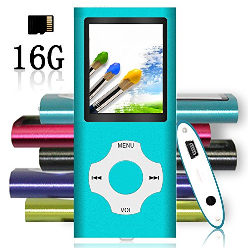Tomameri - MP3/MP4 Player with Rhombic Button, Including a 16 GB Micro SD Card and Maximum support 32GB, Compact Music & Video Player, Photo Viewer, Video and Voice Recorder Supported - Blue by Tomameri