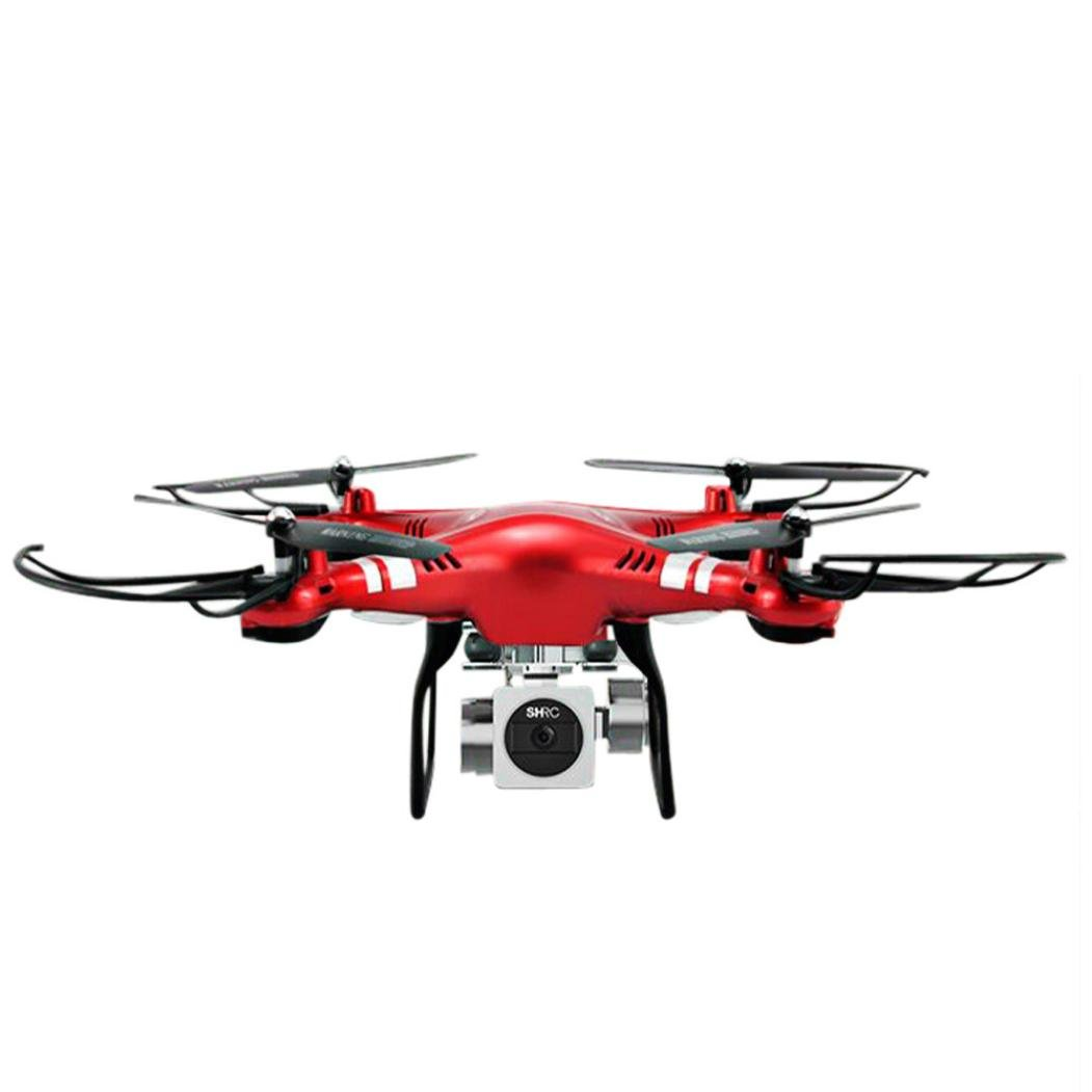 GJKK RC Quadcopter 1080 P Weitwinkelobjektiv 270 Grad HD HD Kamera Drone FPV Ferngesteuerte Flugzeuge Spielzeug Gyro Modellbau Flieger RC Drone Quadcopter Drone Mini Drone Tragbare Drohne (Rot)