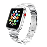 HighlifeS Stainless Steel Strap Wrist Band Replacement for Apple Watch Series 1/2/3 38mm/42mm (Silver, 42mm)