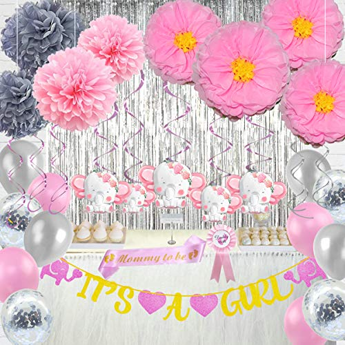 Pink Elephant Baby Shower Decorations for Girl Party Supplies Kit with IT'S A GIRL Banner Flower Pom Poms Hanging Swirls Foil Fringe Curtain Backdrop Balloons Tinplate Badge Pin and Sash by ForceMaxe