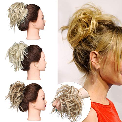 SEGO Tousled Updo Messy Bun Hair Piece Scrunchies Synthetic Wavy Bun Extensions Rubber Band Elastic Scrunchie Chignon Instant Ponytail Hairpiece for Women #27T613 Sandy Brown amp Bleach Blonde