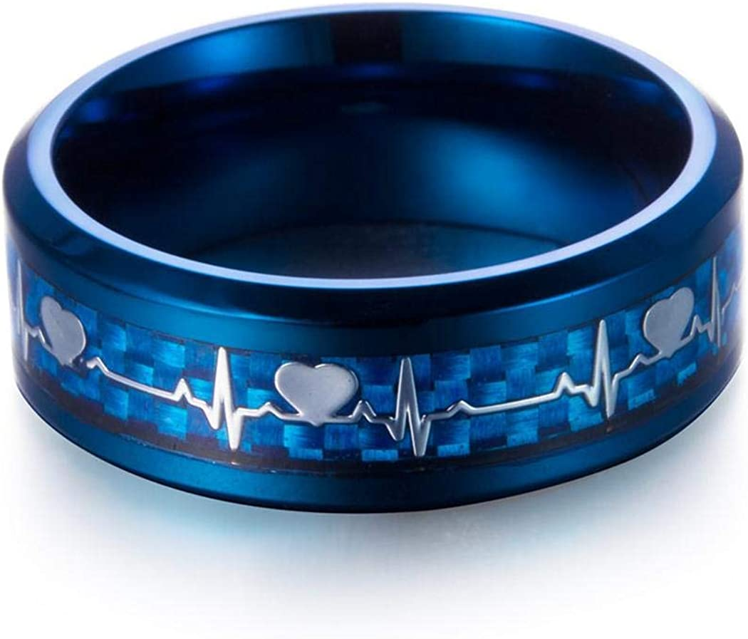 Fashion Stainless Steel Jewelry JEWURA Couple Love Ring Heart Beat on Blue