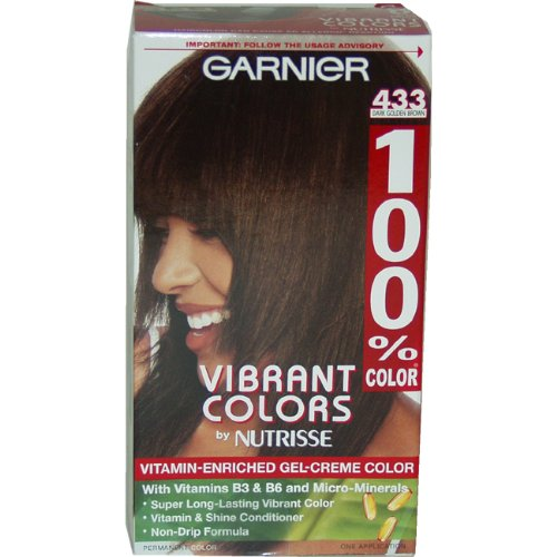 Garnier 100% Color Vitamin Enriched Gel-Creme Color, No.433 Dark Gold Brown