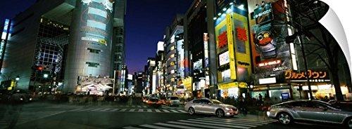 Canvas On Demand Wall Peel Wall Art Print entitled Buildings lit up at night, Shinjuku Ward, Tokyo Prefecture, Kanto Region, Japan - City Capital Stores At Mall