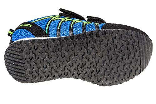 gibra - Zapatillas de sintético/textil para niño 36 Azul - blau/schwarz/neongrün