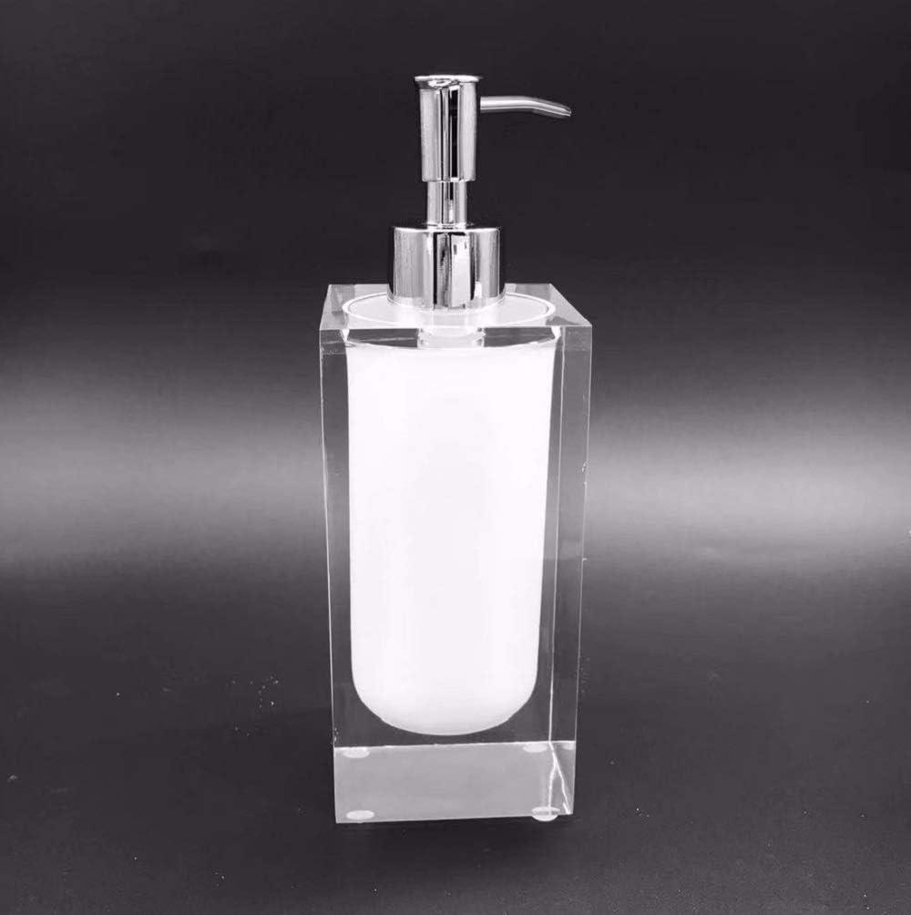 Essentra Home Cristallino Collection Soap Dispenser-White /& Transparent