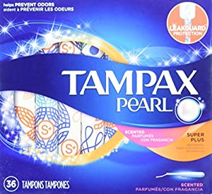 Tampax Pearl Plastic Tampons, Super Plus Absorbency, Scented, 36 Count