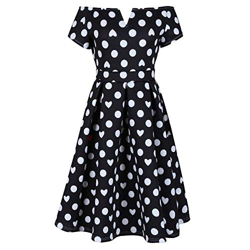 Lalagen Womens Vintage 1950s Flare Rockabilly Plus Size Cocktail Prom Dress Black Polkadot XXL from Lalagen