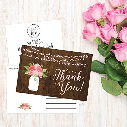 50 4x6 Rustic Floral Thank You Postcards Bulk, Modern Cute Flower Matte Blank Thank You Note Card Stationery For Wedding, Bridesmaid Bridal or Baby Shower, Teachers, Appreciation, Religious, Business Photo #3