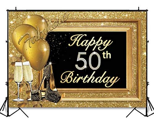 Funnytree 7x5ft 50th Happy Birthday Party Backdrop Adult Golden Balloons Glitter Photo Background Metallic Luxury Fifty Years Old Age Cake Table Decorations Photobooth Banner