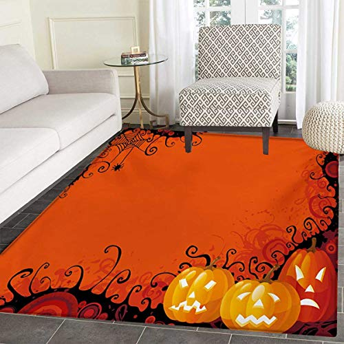 Spider Web Door Mat Rug Three Halloween Pumpkins Abstract Black Web Pattern Trick Treat Bath Mat 3D Digital Printing Mat 36