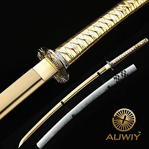 Samurai Sword,Gold 40 Full Handmade High Carbon Steel Japanese Katana Sword