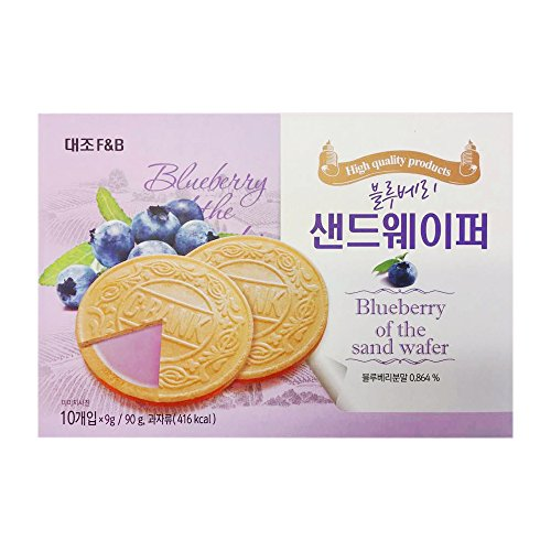 Korean Premium Thin and Crispy Cream Filled Wafers 90g (Blueberry, 1 Pack)