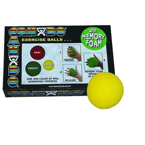 Cando 10–0776–12 Memory Foam Ball Trainingsgerät, 6,3 cm Durchmesser, x-easy, gelb