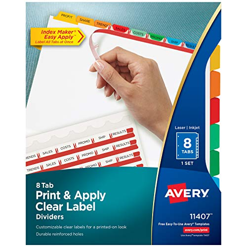 Avery 8-Tab Binder Dividers, Easy Print & Apply Clear Label Strip, Index Maker, Multicolor Tabs, 1 Set (11407)