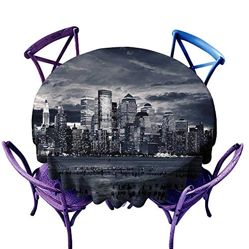 ScottDecor City Tablecloth Birthday Party Dramatic View of New York Skyline from Jersey Side Clouds Buildings Charcoal Grey Black White Tablecloth Sizes Round D -