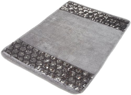 Popular Bath Bath Rug, Sinatra Collection, Silver, 11