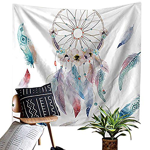 Dreamcatcher with Colorful Feather Decor Tapestry Wall Hanging Hippie Tapestry Psychedelic Bohemian Feather Tapestry for Home Dorm Living Room Or Guest Room Decoration HYC02-B-US #8 W: 59