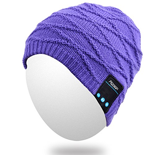 Price comparison product image Qshell Men Women Bluetooth Audio Music Beanie Hat Cap with Stereo Speaker Headphones Microphone Hands Free and Rechargeable Battery for Cell Phones, iPhone, iPad, Tablets, Android Smartphones - Purple