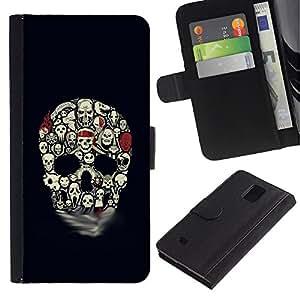 iBinBang / Flip Funda de Cuero Case Cover - Skull Pattern Haunted Halloween Black - Samsung Galaxy Note 4 SM-N910