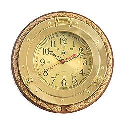 Time Factory AJ-SQ501 Brass Porthole Quartz Clock with Fisherman's Rope on Dark Cherry Wood