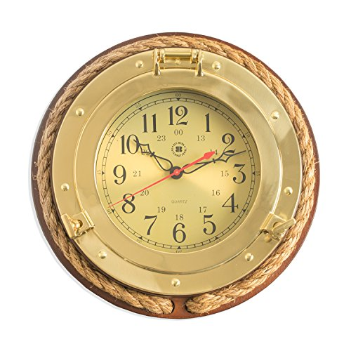 Time Factory AJ-SQ501 Brass Porthole Quartz Clock with Fisherman's Rope on Dark Cherry Wood