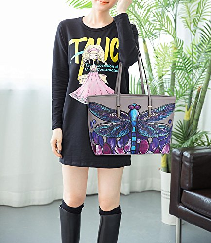 Oversized Ladies 2 Print fits Design Extra Bags Also Womens Grey Folder Butterfly Animal Female Shoulder Handbags Large Bags A4 EqwSxBtT