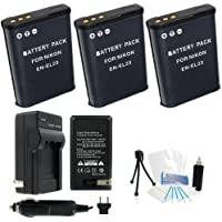 3-Pack EN-EL23 High-Capacity Replacement Batteries with Rapid Travel Charger for Select NIkon Digital Cameras. UltraPro Bundle Includes: Camera Cleaning Kit, Screen Protector, Mini Travel Tripod